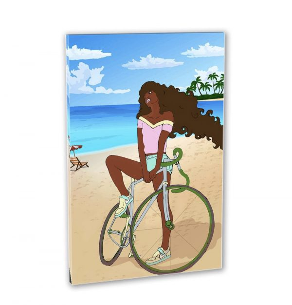 Black Woman on Bicycle at the beach