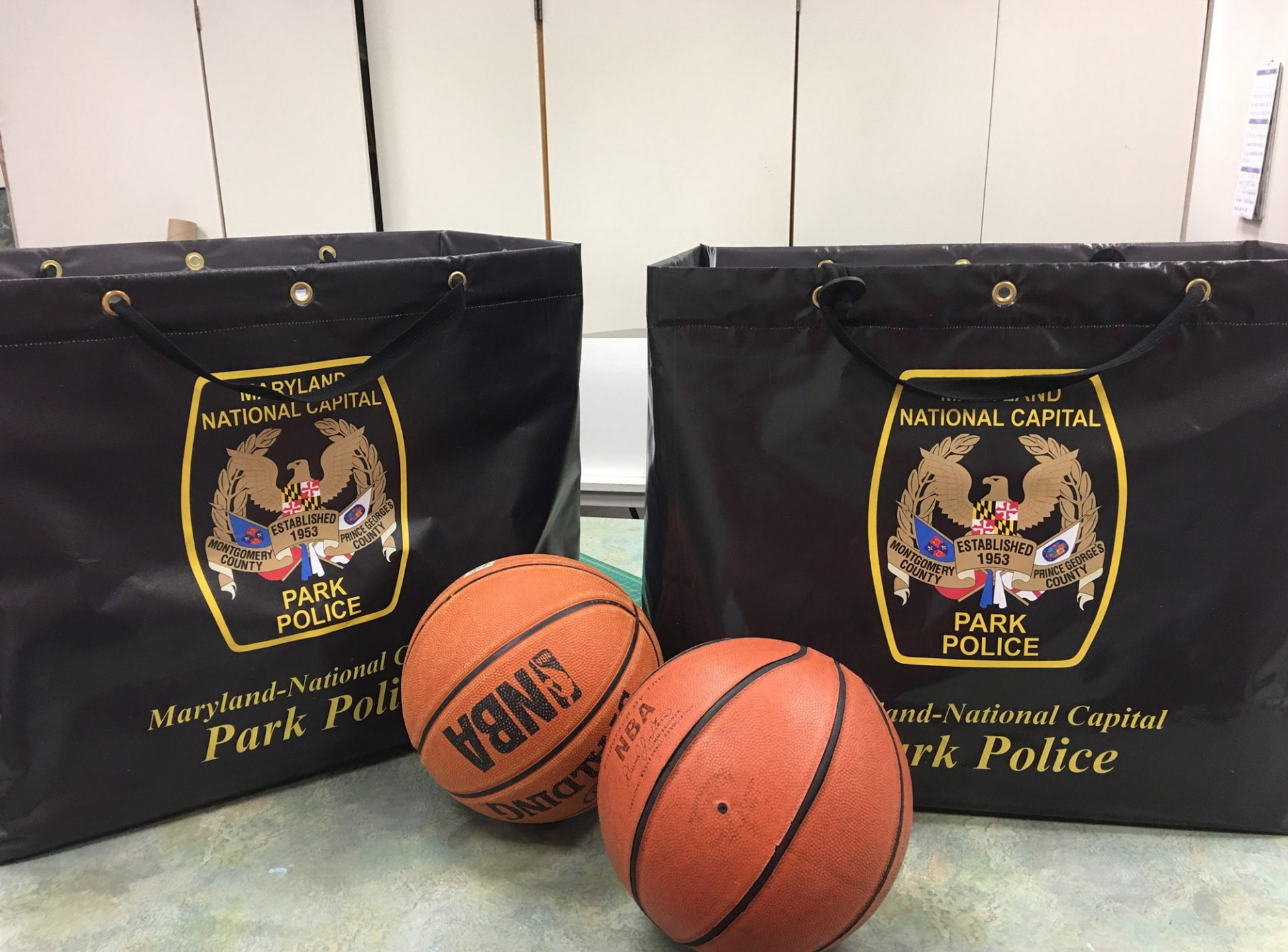 MNCPPC Park Police Bags for basketball Tournament