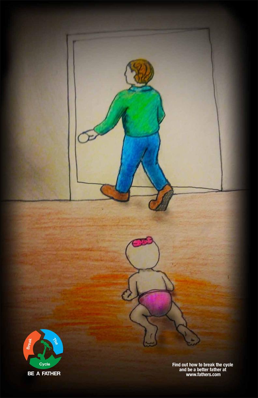 illustration of infant at door
