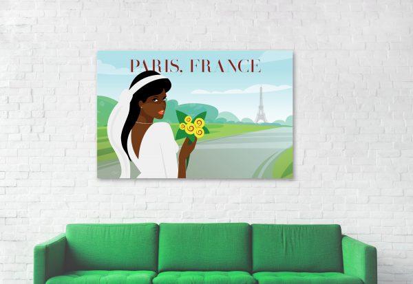lingin room set, black woman in Paris France